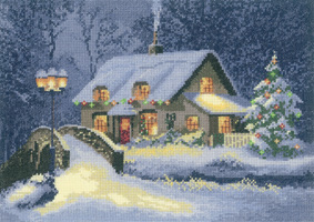 Cross stitch christmas cottage by John Clayton