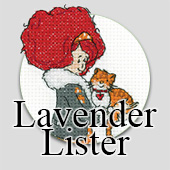 Lavender Lister counted cross stitch