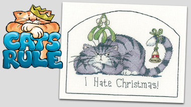 I Hate Christmas cat cross stitch by Peter Underhill