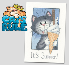 It's Summer - cat cross stitch by Peter Underhill