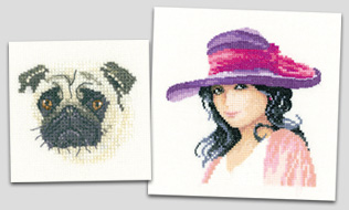 Cross stitch pug and Jessica in Miniature cross stitch
