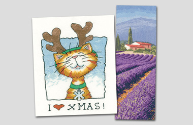 Cross stitch Lavender Fields and Christmas Cat!