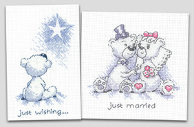 Justin Bear cross stitch cards