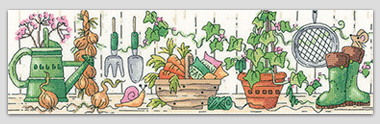 The Potting Shed - gardening cross stitch by Karen Carter