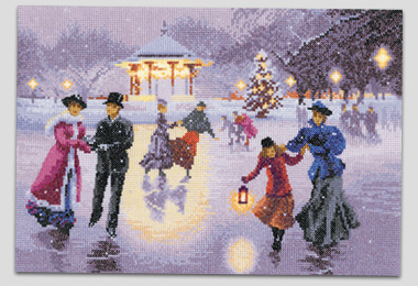 Cross stitch Christmas Skaters by John Clayton